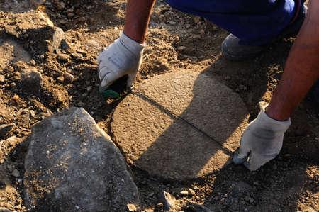 """Neem maatregelen kolom in de patio van het """"Domus"""" Archeologische site """"Chao Samartin"""" Asturias SPANJE"""