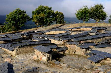 castro: View Castro archaeological site  Chao Samartin  GRANDAS DE SALIME  Asturias SPAIN Stock Photo