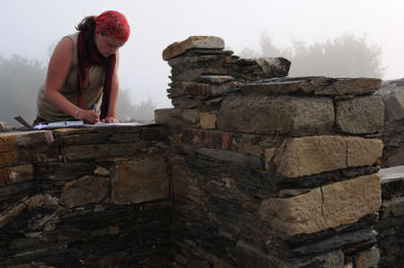 archaeologist: Archaeologist working in the Themal Baths of the   Domus  ( 1 st  AD )   Archaeological site  Chao Samartin  Asturias SPAIN