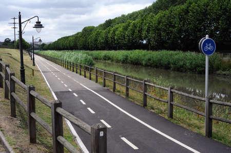aviles: Bike lane in AVILES . Principado de Asturias . SPAIN