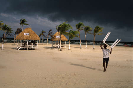 Cabin for tourists on stormy day at the beach Soure.MARAJO ISLAND (Amazon). BRAZIL