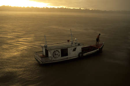BRAZIL (Amazonas). State of Pará. Marajó Island ; Storm in the Amazon River.