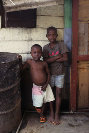 africana: EQUATORIAL GUINEA. North Bioko. MALABO ; Children in slums.