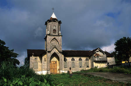 EQUATORIAL GUINEA. South Bioko. BATETE ; Front  of the church made of wood (1925).