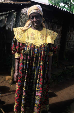 EQUATORIAL GUINEA. South Bioko. MOCA ; Woman with traditional dress.