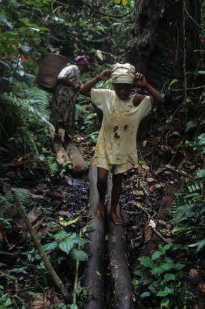 GUINEA ECUATORIAL. . Continental región de Monte Alen Parque Nacional; Chica llevando canasta. Editorial