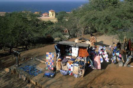 Stall  traditional handicrafts GOREE ISLAND Dakar Region. SENEGAL.