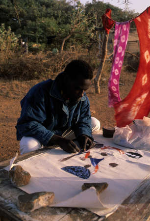 Artist working . GOREE ISLAND Dakar Region. SENEGAL.