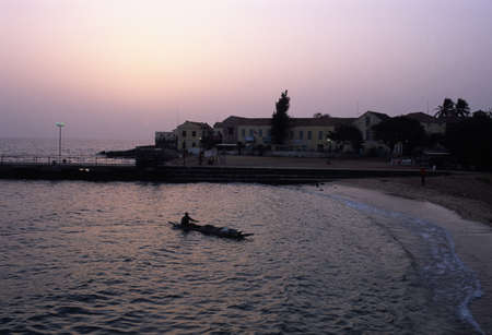 Gor�e view at dusk  GOREE ISLAND Dakar Region. SENEGAL.