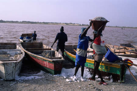 extracted: Woman carrying bucket of salt in the head. LAC ROSE  ( Retba ) Dakar Region SENEGAL Editorial