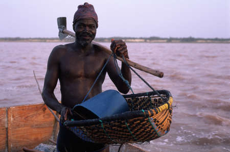 Extracting salt from the lake. LAC ROSE  ( Retba ) Dakar Region SENEGAL
