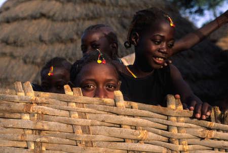SENEGAL. Tambacounda Region   ( Bassari Country )  BEDIK    Village of Iwol  ; Girls with decorations for the  Feast of Initiation