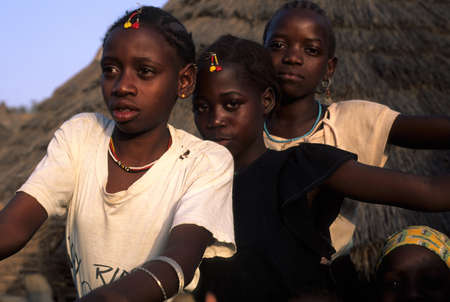 SENEGAL. Tambacounda Region   ( Bassari Country )  BEDIK    Village of Iwol  ; Girls with decorations for the  Feast of Initiation