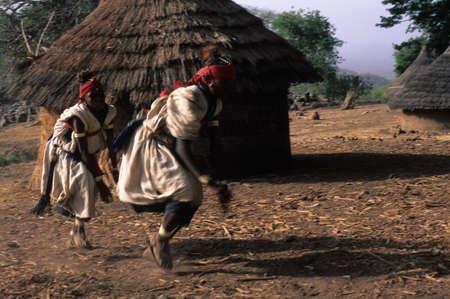 initiation: SENEGAL. Tambacounda Region   ( Bassari Country )  BEDIK    Village of Iwol  ; Bedik initiates dancing during the Initiation Ceremony