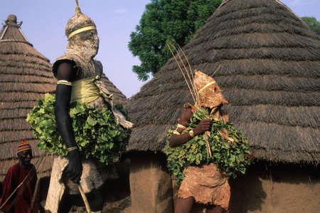 african village: SENEGAL. Tambacounda Region  ( Bassari Country )  BEDIK   Village of Iwol  ;  Bedik mask   Spirits of Forest    Initiation Ceremony  Editorial