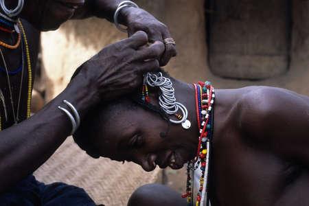 initiation: SENEGAL. Tambacounda Region  Bassari Country  BEDIK    Village of Iwol  ; Women preparing for the Feast of Initiation.