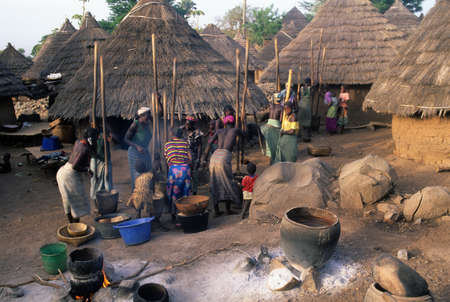 Bedik women grinding at sunset in front of their huts. ' Village of Iwol  '  Bassari COUNTRY  Tambacounda Region  SENEGAL.