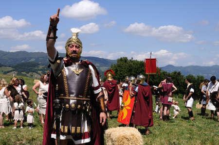 Roman  legionnaires.  Astur-Roman Festival of  La Carisa   CARABANZO  Asturias SPAIN.