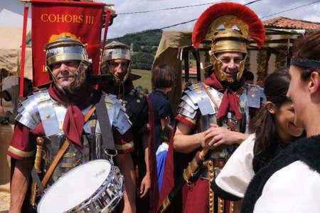 fiestas: Roman legionnaires   Astur-Roman Festival of  La Carisa   CARABANZO  Asturias SPAIN.