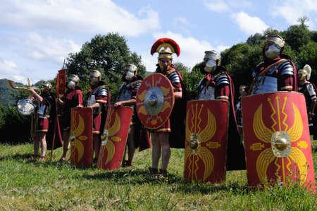 roman empire: Roman legionnaires   Astur-Roman Festival of  La Carisa   CARABANZO  Asturias SPAIN.