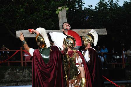 Cruxifixi�n of Astur by the Romans  Astur -Roman Festival of  La Carisa   CARABANZO  Asturias SPAIN. Editorial