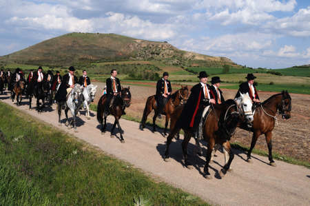 SPAIN. Castilla-La Mancha. Guadalajara. ATIENZA;  Feast   LA CABALLADA .   Brotherhood of the mule drivers  Brotherhood  on horseback  .