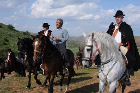 SPAIN. Castilla-La Mancha. Guadalajara. ATIENZA;  Feast    LA CABALLADA.   Brotherhood of the mule drivers  Brotherhood with the priest on horseback.