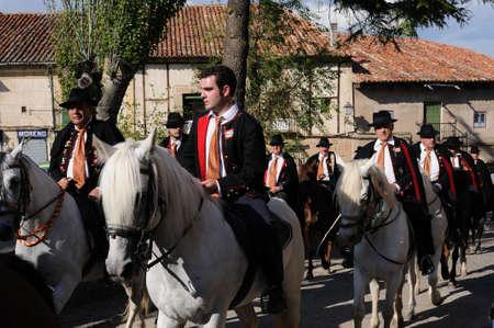 SPAIN. Castilla-La Mancha. Guadalajara. ATIENZA ;  Feast  LA CABALLADA .   Brotherhood of the mule drivers  Brotherhood  on horseback  in the main square.
