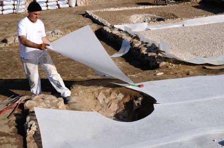 Geotextile . Restoration of the Roman City of Complutum  ALCALA DE HENARES Madrid  SPAIN
