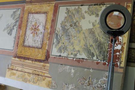 artefacts: Restoration  Room E  of the Domus  House of Griffins Complutum. ALCALA DE HENARES . Madrid. SPAIN.
