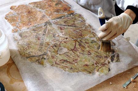 restore: Restoration  Room E  of the Domus  House of Griffins Complutum. ALCALA DE HENARES . Madrid. SPAIN.