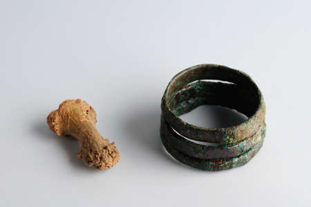 phalanx: Ring of three soldiers copper rings associated with small phalanx bone . .Medieval  period from the archaeological site of  La Magistral  in Alcala de Henares -  Burgo de Santiuste Museum   (Madrid ). SPAIN