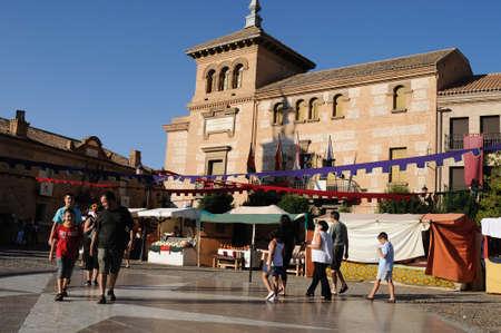 castille: Market during the Medieval Festival of  CONSUEGRA  - Route of Don Quixote  ( Commemoration of the battle  ( 1097 ) .  Province of  Toledo . Castille- La Mancha SPAIN.