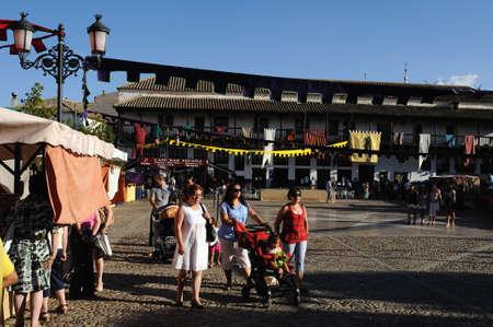 castille: Market during the Medieval Festival of  CONSUEGRA .  - Route of Don Quixote  ( Commemoration of the battle  ( 1097 ) . Province of  Toledo . Castille- La Mancha SPAIN.                                                                                    Editorial
