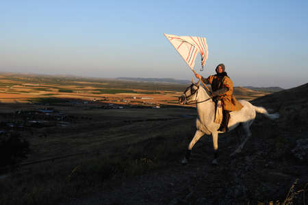 Rider during the Medieval Festival of  CONSUEGRA  - Route of Don Quixote  ( Commemoration of the battle  ( 1097 ) .  Province of  Toledo . Castille- La Mancha SPAIN. SPAIN. Castilla- La Mancha . Toledo . CONSUEGRA ;   Rider during the medieval festival Co