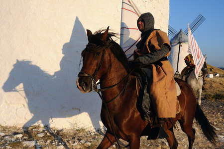 Rider during the Medieval Festival of  CONSUEGRA - Route of Don Quixote  ( Commemoration of the battle  ( 1097 )  .  Province of  Toledo . Castille- La Mancha SPAIN.  SPAIN. Castilla- La Mancha . Toledo . CONSUEGRA ;   Rider during the medieval festival C