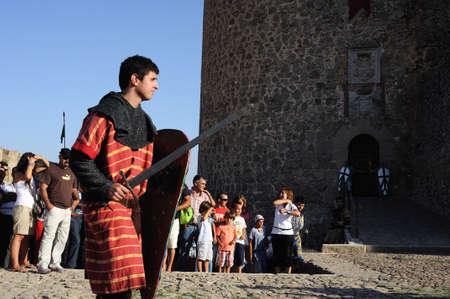 Historical Recreation in the Castle during the Medieval Festival of  CONSUEGRA - Route of Don Quixote  ( Commemoration of the battle  ( 1097 ) Castilian  Province of  Toledo . Castille- La Mancha SPAIN.