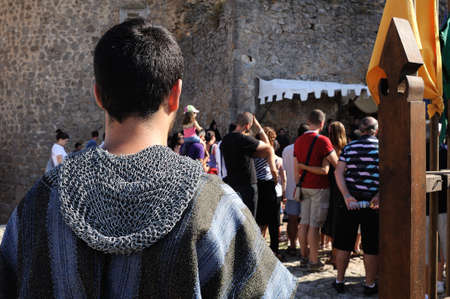 castille: Historical Recreation in the Castle during the Medieval Festival of  CONSUEGRA - Route of Don Quixote  ( Commemoration of the battle  ( 1097).  Province of  Toledo . Castille- La Mancha SPAIN.