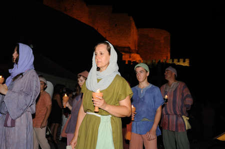 castille: Burial Diego Rodriguez (Son of Cid ) during the Medieval Festival of  CONSUEGRA - Route of Don Quixote  ( Commemoration of the battle  ( 1097 ) .  Province of  Toledo . Castille- La Mancha SPAIN.  Editorial