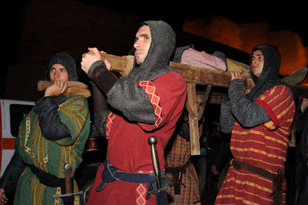 fiestas: Burial Diego Rodriguez (Son of Cid ) during the Medieval Festival of  CONSUEGRA - Route of Don Quixote  ( Commemoration of the battle  ( 1097 ) .  Province of  Toledo . Castille- La Mancha SPAIN.  Editorial