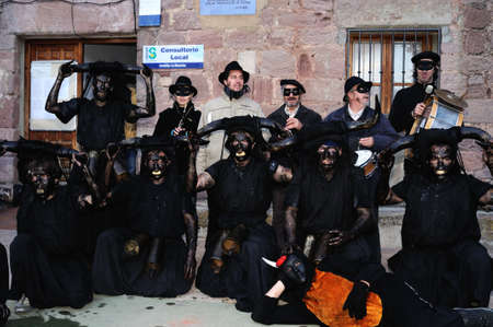 castille:  Luzon , SPAIN - 5 March, 2011 -    Devils Luzón    Carnival in  LUZON. Guadalajara . Castille - La Mancha . SPAIN