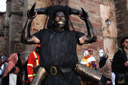 fiesta popular:  Luzon , SPAIN - 5 March, 2011 -    Devils Luz�n    Carnival in  LUZON. Guadalajara . Castille - La Mancha . SPAIN Editorial