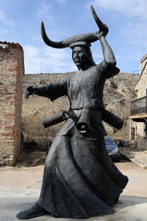 castille: Sculpture    Devils Luz�n   Carnival in  LUZON. Guadalajara . Castille - La Mancha . SPAIN