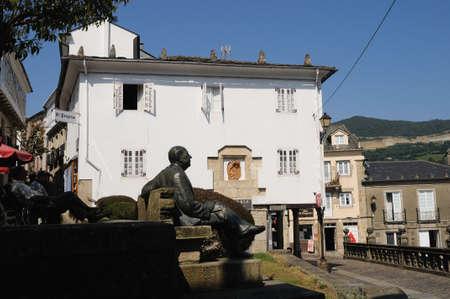 alvaro: Alvaro Cunqueiro sculpture  Plaza de Espa�a  MONDO�EDO .  Province of  Lugo.  Galiza . SPAIN   Editorial