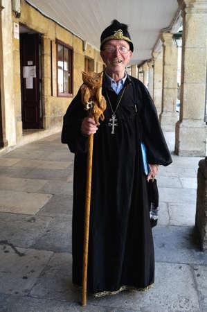 Man dressed as Merlin Magician ( Alvaro Cunqueiro book)   Plaza de Espa�a  MONDO�EDO .  Province of  Lugo.  Galiza . SPAIN