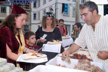 Vilalba , SPAIN- 9 JULY , 2011 -  Traditional Lunch  Medieval Festival  VILALBA.  Province of  Lugo.  Galiza . SPAIN