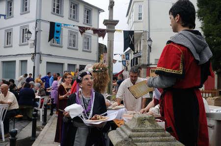 fiestas: Vilalba , SPAIN- 9 JULY , 2011 -  Traditional Lunch  Medieval Festival  VILALBA.  Province of  Lugo.  Galiza . SPAIN