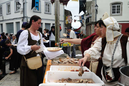 fiestas: Vilalba , SPAIN- 9 JULY , 2011 -  Traditional Lunch  Editorial