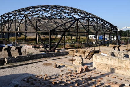ALCALA DE HENARES , Spain - 04 April 2011 - . Construction of the Museum  House of Griffins    in the archaeological site of Complutum in ALCALA DE HENARES. Community of Madrid .SPAIN