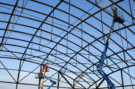 ALCALA DE HENARES , Spain - 04 April 2011- Cleaning of the structure . Construction of the Museum